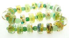 OliveStuart Handmade Lampwork Beads 21 green variegated flat disc
