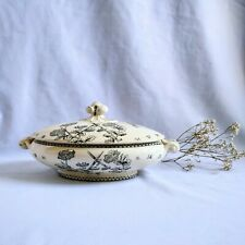 More details for antique aesthetic movement oriental chinoiserie transferware covered tureen