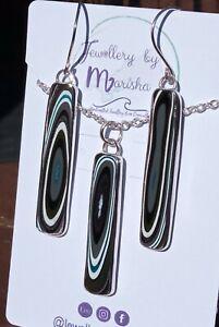 Blue & Grey Multi Fordite Fine Silver & Sterling Silver Necklace & Earrings Set