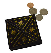 Moroccan Handmade Wallet Camel Leather Coin Change Purse Pocket X-Small Black