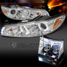 97-03 Pontiac Grand Prix Chrome LED Halo Projector Headlights+H3 Halogen Bulbs