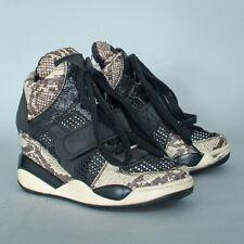 Ash Black Snakeskin Wedge Leather Trainers Sneakers Women's UK 4 EUR 37 US 6