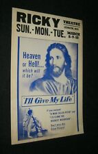 Original I'LL GIVE MY LIFE Ricky Theatre Lexington Miss. Benton Card JESUS ART