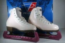 Riedell WHITE Women's Figure Skates, skate covers, w/ protective dust covers