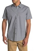 coastaoro Mens Shirt large Checkered short Sleeve blue print button  bd2