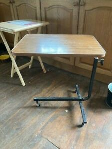 Folding Brown Top Adjustable Black Metal Legs Over Bed Crafting TV Dinner Table