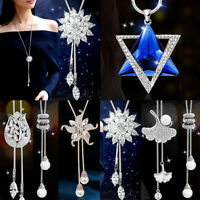 Women Fashion Long Chain Sweater Necklace Pearl Crystal Tassel Pendant Acces
