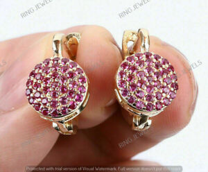 2 CT Round Cut Ruby Cluster Circle Vintage Hoop Earrings 14K Yellow Gold Finish