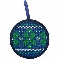 "New listing Alice Peterson Stitch Ups 4"" Round Needlepoint Ornament Kit - Fair Isle Blue"