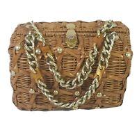 Rattan Handbag Purse Vintage 50s British Hong Kong Plastic Wicker Weave Bakelite