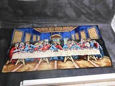 "Old Vtg Religious LAST SUPPER TAPESTRY Wall Hanging Decor 37 3/4""x19"" Tapestries"