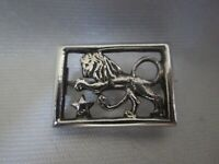 Vintage Sterling Silver 925 Rampant Lion Animal Star Art Deco 1940s Brooch Pin