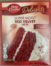 NEW BETTY CROCKER DELIGHTS SUPER MOIST RED VELVET CAKE MIX 15.25 OZ BOX FREESHIP