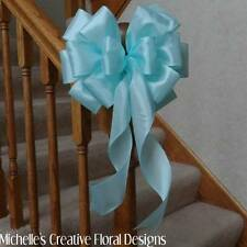 "10"" W WIRED EDGE AQUA BOW~TIFFANY BOX COLOR~FOR CRAFTS~WREATHS~DECORATIONS~PEWS"