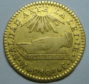 1838 CHILE 1 ESCUDO SANTIAGO MINT CHILE REPUBLIC GOLD COIN ONE YEAR TYPE