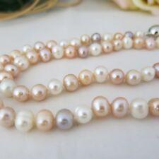 Kette 50cm aus echten Perlen Oval Natur Farbe! Magnetverschluss, TOP Geschenk