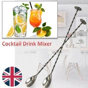 Stainless Steel Cocktail Drink Mixer Stirring Mixing Spoon Ladle Muddler Bar UK