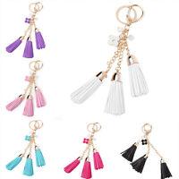 Leather Long Tassel Car Key Chain Ring Bag Purse Cellphone Charm Flower Pe Ullm