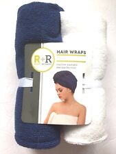 LOT OF 2 Room Retreat Hair Wrap Towels. Blue/white.  NEW