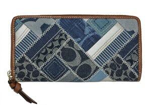 NEW Coach Zip Around Accordion Wallet Denim Signature Patchwork Clutch Bag