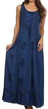 Stella Long Tank Top Adjustable Caftan Embroidered Corset Dress - Navy - S/M