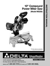 "Delta MS250 10"" Compound Power Miter Saw Instruction Manual"