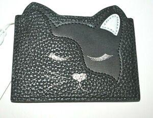 NWT Ted Baker London Ellsi Applique Cat Credit Card Holder Black