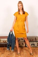M&S Mujer Amarillo Mostaza Vestido Informal de Verano BNWT Talla 12 sastrería Suave