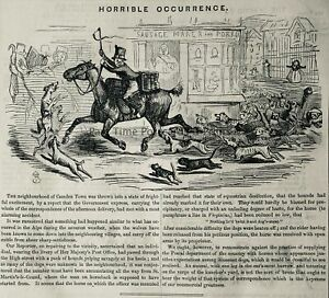 c1845 Antique Victorian Print LONDON CAMDEN TOWN POST OFFICE HORRIBLE OCCURRENCE