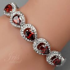 7 In Rhodium Plated Crystal Rhinestone Red CZ Wedding Bangle Cuff Bracelet 01583