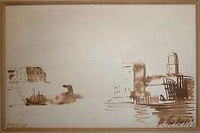 Galanis Demetrios Emmanuel encre et lavis d'encre signée Marseille artiste grec