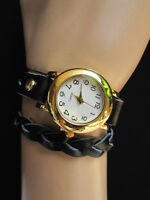 New Women Bracelet Fashion Gold Watch Faux Leather Black Wrap Around White Dial