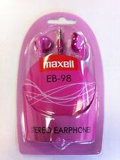 Lote De Trabajo Maxell EB-98 Stereo Oreja Auriculares Audífonos Bud-Rosa en Caja (cantidad 6)