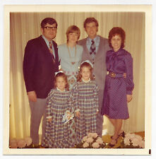 Vintage 70s PHOTO Adults At Event w/ Little Girls Sisters In Matching Dresses