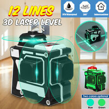 12 Line Laser Level Blue/Green Auto Self Leveling 3D 360° Rotary Cross   # FF