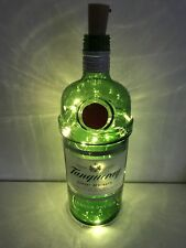 Tanquray Gin Glass Bottle 1L, Upcycled Lamp/Light 20 Micro LED Lights.
