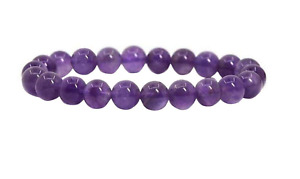 UK Protection Anxiety Stress Relief Amethyst Crystal Gemstone 8mm Bead Bracelet