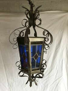 Vintage french lantern lamp hall Stained blue glass celling porch Light H 57 cm