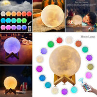 3D Moon Lamp USB LED Night Light Moonlight Touch 16Color Changing W/Remote Gift