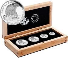 American Bald Eagle 4 Coin set .9999% Pure Fine Silver - Maplewood Case & COA