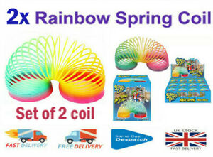 2X Rainbow Color Spring Coil Slinky Fun Kids Toy Stretchy Bouncing Magic Toy