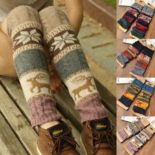 UK Women Boho Winter Warm Leg Warmers Cable Knit Knitted Crochet High Long Socks
