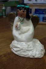 1996 CERAMIC HAND PAINTED ANGEL NATIVE AMERICAN INDIAN GIRL HOLDING A BABY LAMB