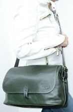 MULBERRY Messenger Bag Large Natural Grain Leather Forest Green 38 cm TOP