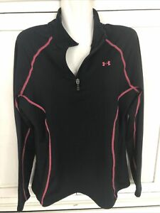Under Armour Cold Gear Women's Black Pink  1/4 Zip Neck Pullover Large