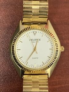 Men's Helbros Gold Tone White Face Watch With Spidel Band New Battery