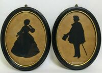 Vintage Silhouette Oval Picture Pair David & Dora Copperfield Dickens Cut Paper