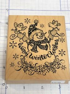 Wood Block Stamp__ Christmas  Snowman  Warm Winter Wishes__ lot 115