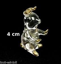 magnifique cochon en verre avec dorures, miniature de collection,cochon   G11-37