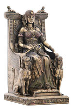 Egyptian Queen Nefertiti or Cleopatra Enthroned with Sphinx Statue #WU75637V4